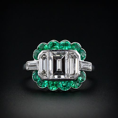 Fine Art Deco 1925 Emerald Cut Diamond Diamond and Emerald Ring