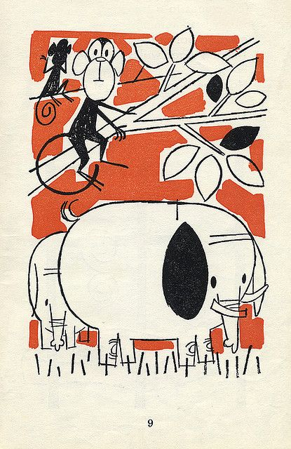 illustration from the old man & the tiger - story by alvin tresselt, illustrations by albert aquino, 1965 [via mesmerical on flickr]