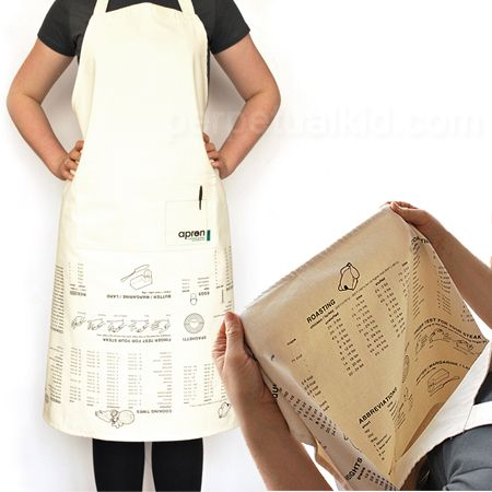 Upside Down Apron with Cooking Guide! A must for people like myself who were too lazy in High School Cooking class to memorize conversions!