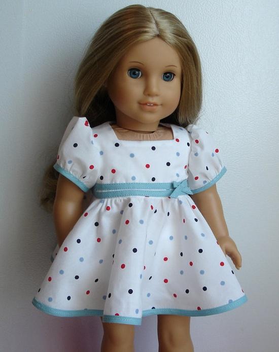 """1930's Style Polka Dot Dress for 18"""" American Girl Dolls"""