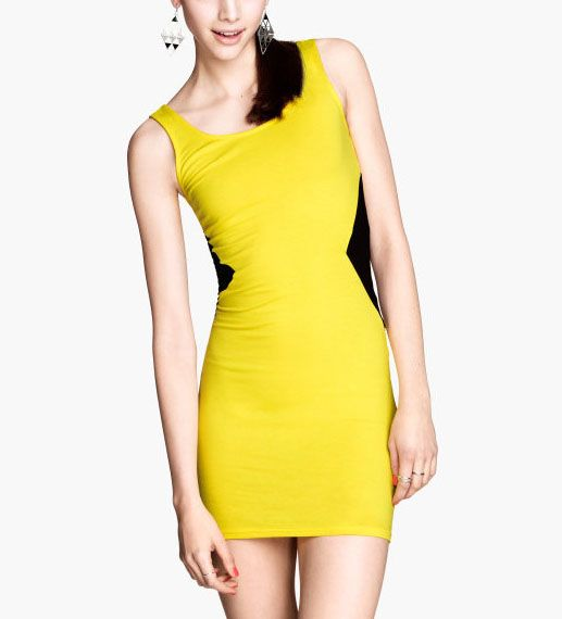 Black Yellow Color Block Mini Party Dress