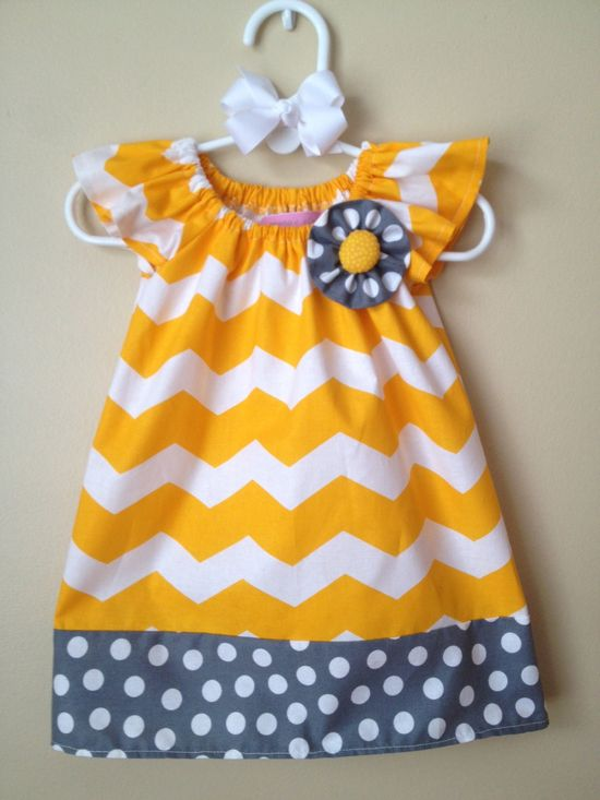 Easter Baby Girl Yellow Chevron and Gray Polkadot Peasant Dress with Matching Hair Bow- 0 to 3 months - 6M - 12M - 18M - 2T - 3T - 4T. $34.00, via Etsy.