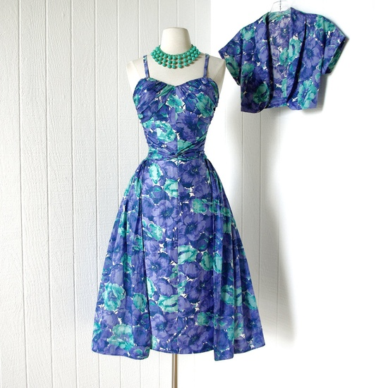 vintage 1950's dress ...most amazing COLE OF CALIFORNIA polished cotton hawaiian pin-up wiggle dress with gauze overskirt and bolero jacket. $360.00, via Etsy.