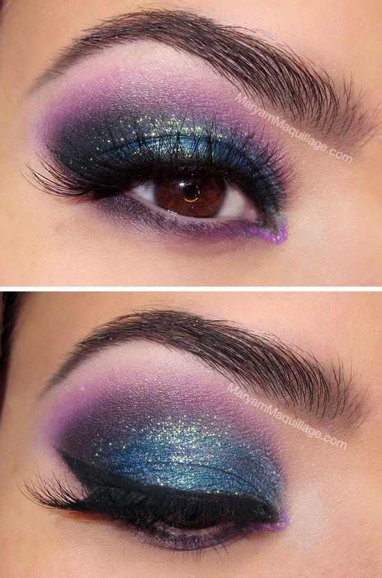 Cool Blue and Purple Eye Makeup #glitter #vibrant #smokey #bold #eye #makeup #eyes