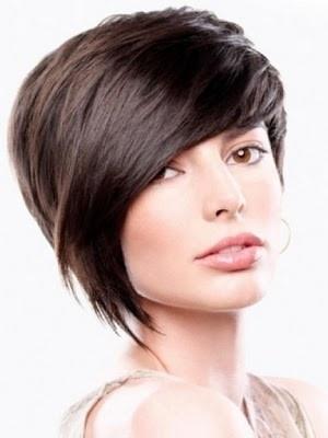 Asymmetrical short hair.