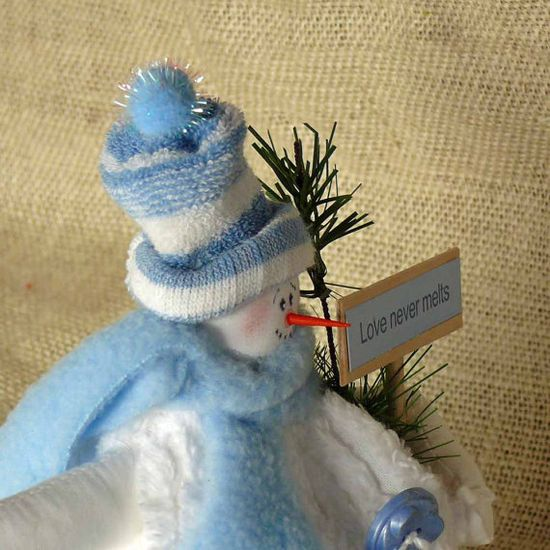 Loving Baby Blue Small Fabric Snowman by SnowmanCollector on Etsy