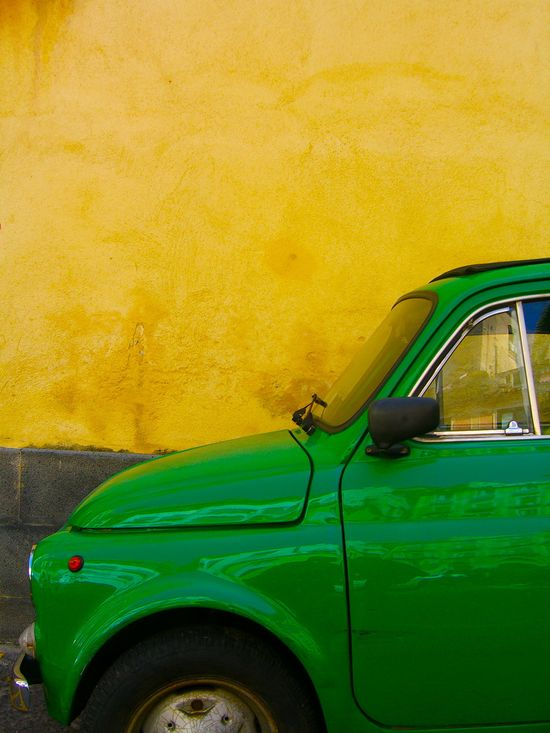 #fiat #500 #yellow #green #car #italy
