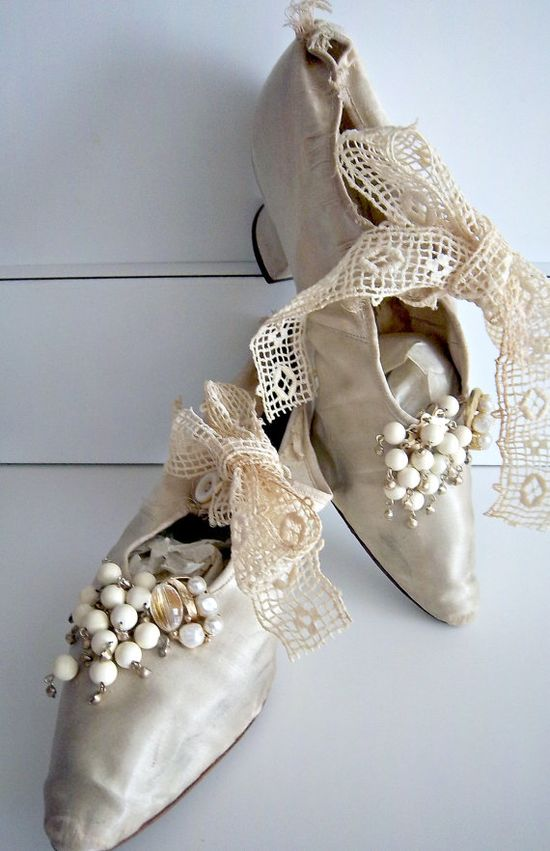 Edwardian Antique Wedding Silk Shoes Slippers Circa 1902