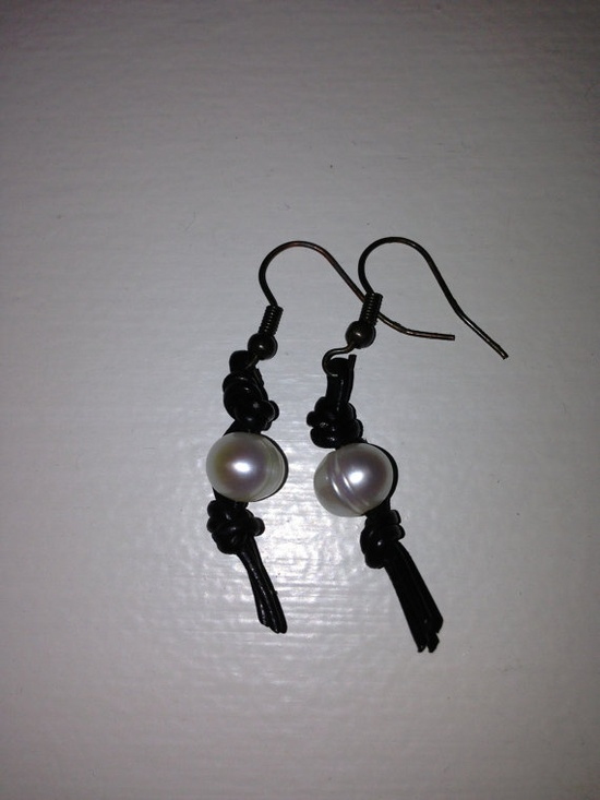 Leather and Pearl Earrings on Etsy, $15.00