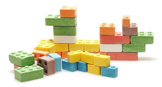 Candy Blox: Build and eat! Pineapple (White), Banana (Yellow), Orange (Orange), Cherry (Red), Raspberry (Blue), Lime (Green), and Grape (Purple)! #Candy #Toy_Blocks