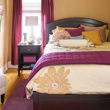 Yellow & Plum Bedroom