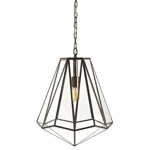 A funky pendant light from Arteriors.  This brass and glass hexagonal pendant light is sure to make a statement when suspended alone and also when arranged in multiples.