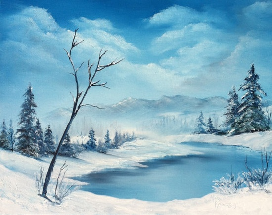 Blue Snow  Original Winter Landscape Oil by sweetteadesigns, $118.00  Bob Ross style, wet on wet oil painting.