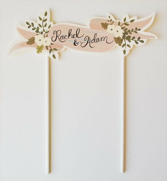 Custom Cake Topper Bride and Groom Handpainted Names-Blush. $36.00, via Etsy.