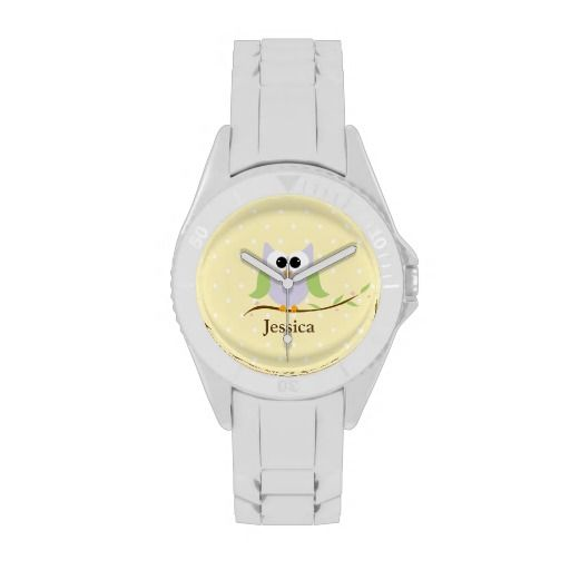 Cute Owl on Branch with your name wrist watch