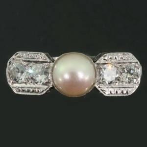 Deco platinum, diamond, pearl c 1930