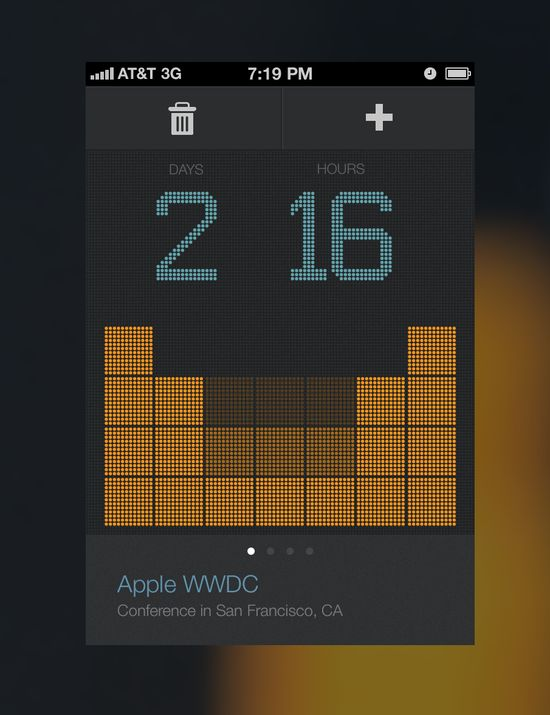 Countdown, interface. Dark background and orange