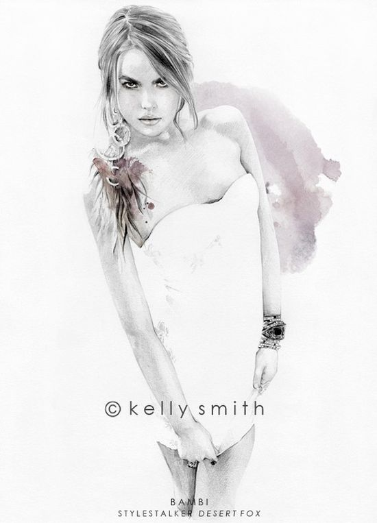"""Bambi"" limited edition print by Kelly Smith  #fashion #illustration #kelly_smith"