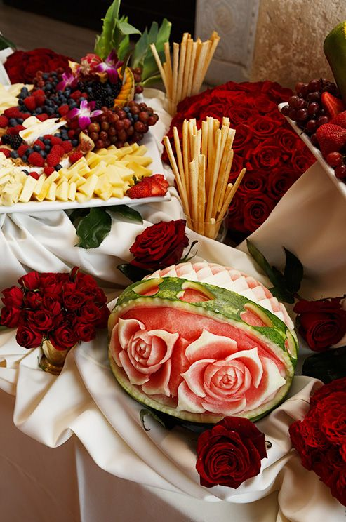 Dessert buffets featured carved watermelons and fresh fruit.