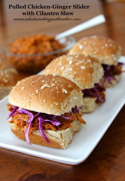 Pulled Ginger-Chicken Sliders with Cilantro Slaw are a tasty and simple slow cooker dish that's perfect for any crowd! @whatscookingwithruthie.com #recipes #chicken #slow_cooker