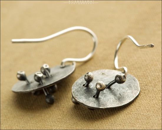 Hand Cut Oxidized Sterling Silver Earrings - Jewelry by Jason Stroud
