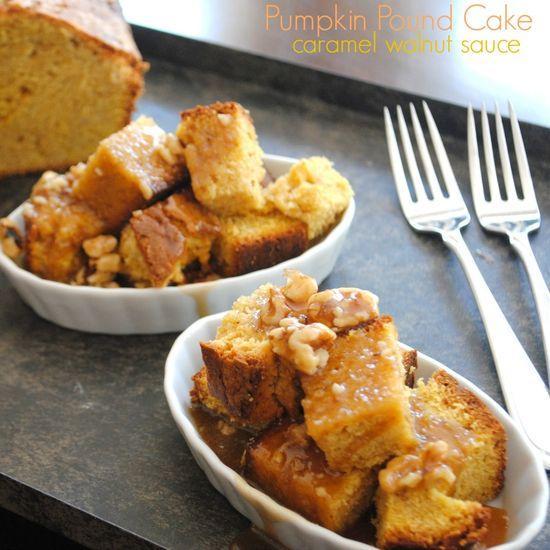 Pumpkin Pound Cake with Caramel Walnut Sauce from www.shugarysweets...