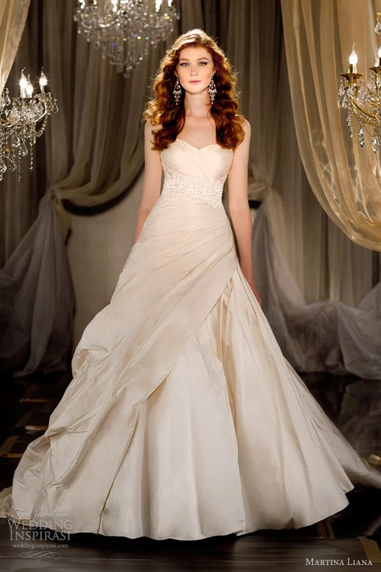 martina liana 2012 2013 wedding dresses silk ivory ball gown, its like a fresh air to traditional white!