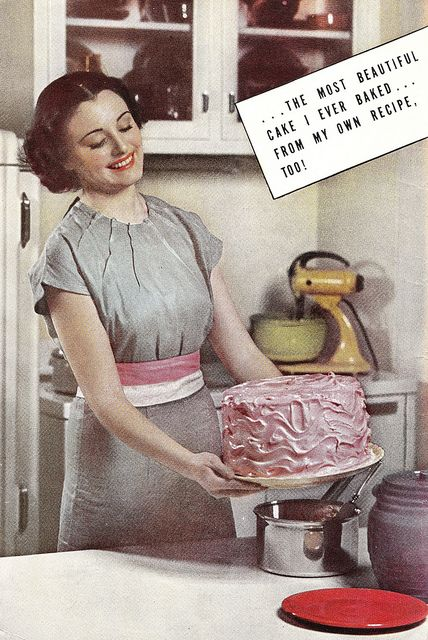 It's the most beautiful cake she's ever baked! #vintage #1930s #baking #homemaker #kitchen