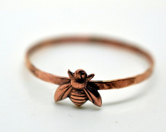 Rose Gold Honey Bee Ring 14K Rose Gold Fill Band by fifthheaven, $24.00