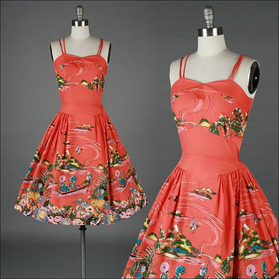 vintage 1950s dress  cotton  asian novelty #dress #1950s #partydress #vintage #frock #retro #sundress #teadress #petticoat #romantic #feminine #fashion