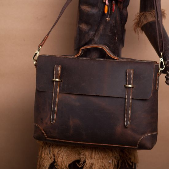 "Men's Handmade Vintage Leather Briefcase / Messenger / 14"" Laptop 15"" MacBook Bag"
