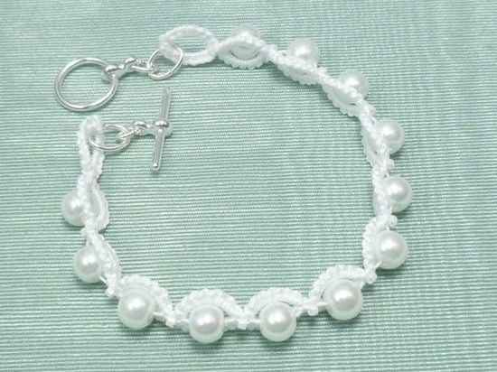 Tatted Lace jewelry Bridal Bracelet -Halo for brides bridesmaids MTO by SnappyTatter on Etsy