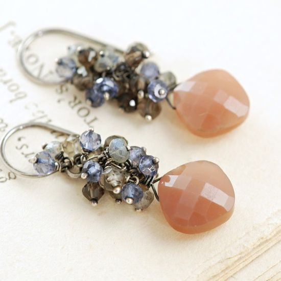 taupe moonstone & smoky cluster handmade earrings