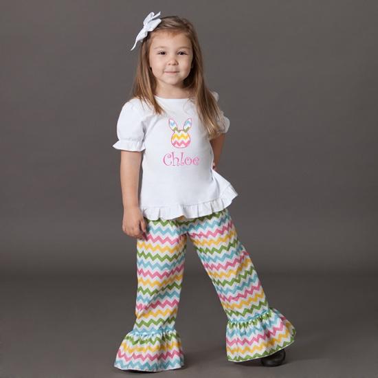 White Cotton Girl Chevron Ruffle Pant Set