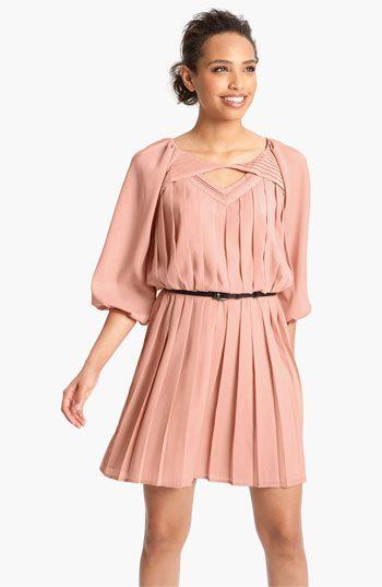 Jessica Simpson Pleated Crêpe de Chine Blouson Dress