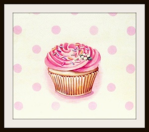 classic buttercream frosted cupcake pink print #kitchen #art #polka dots #bakery #retro #kids #decor #gift $18.00