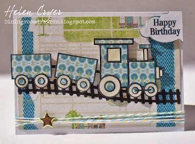 handmade birthday card ... adorable paper pieced train ... blue print paper ...