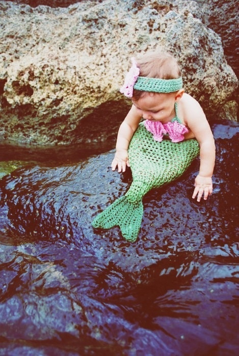 Mermaid crocheted baby outfit