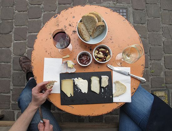 cheese, wine, nuts, bread