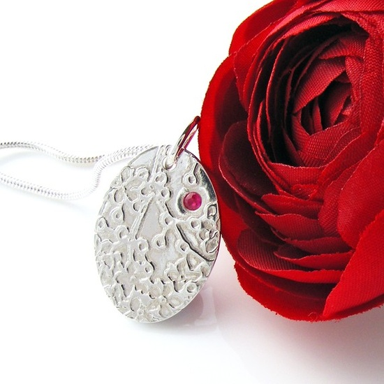 Ruby & Silver Pendant Handcrafted Cherry Blossom by ErikaPrice, £35.00