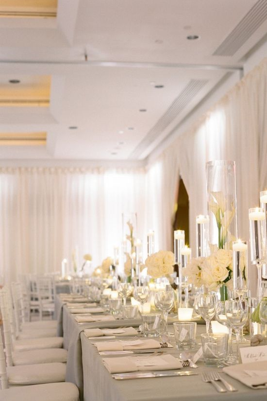 Grey and white long reception table