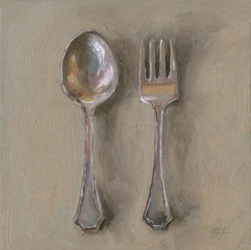 Leslie Lewis Sigler's paintings of tabletop family heirlooms (servingware, creamers, utensils)