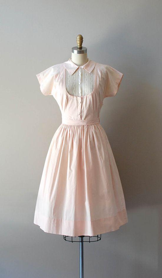 cotton 50s dress / vintage 1950s dress / Light Folly by DearGolden, $88.00
