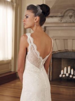 A-line/Princess V-neck Embroidered Lace Wedding Dress