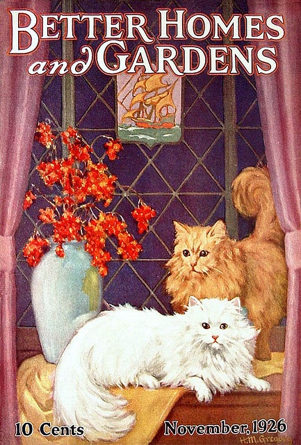 A beautiful kitty adorned Better Homes and Gardens cover from 1926. #magazines #1920s #vintage #cats