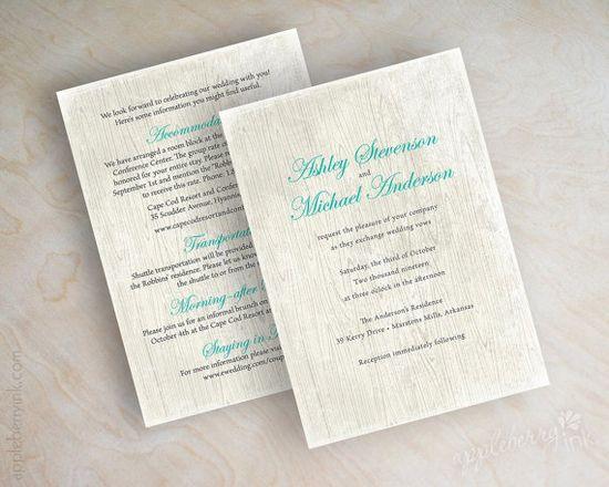 Shabby Chic Country Woodgrain Wedding Invitation, Country Wedding Invite, Shabby Chic Wedding Invitation, Tiffany Blue, Teal, Lauren by www.appleberryink...