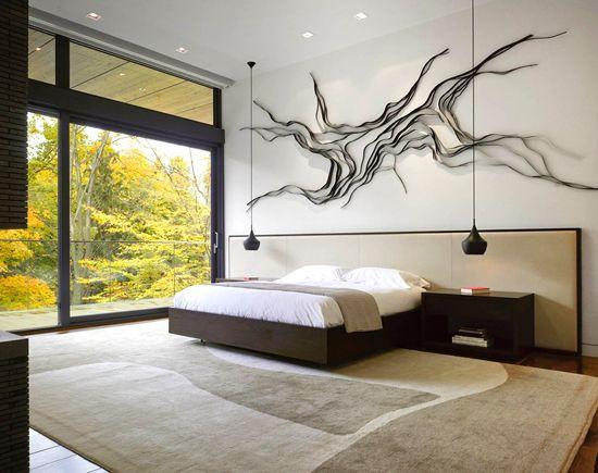 Modern bedroom and sculpture. #Decor #Home #Art