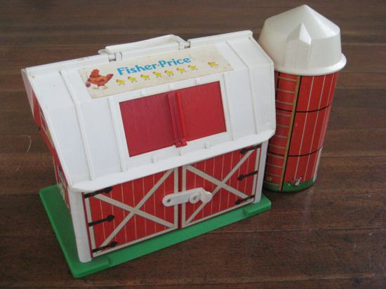 Vintage Children's Toy - Fisher Price Red Barn and Silo
