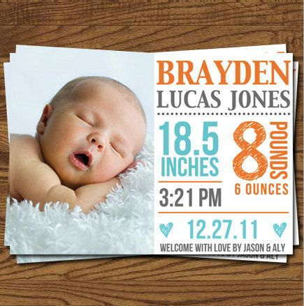 Baby Announcement / Birth Announcement by olivepresspaper on Etsy, $12.50