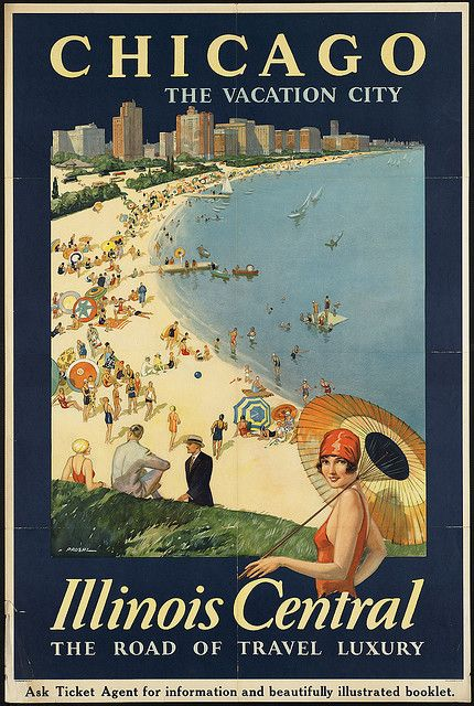 1920s tourism poster for Chicago.